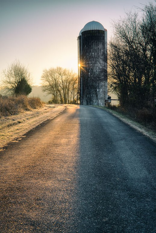 """""""Silo Sunrise"""", Bell Buckle, TN ~ © ALL IMAGES COPYRIGHT PROTECTED. ALL RIGHTS RESERVED. – DAVID L. MOREL ~ 2014"""