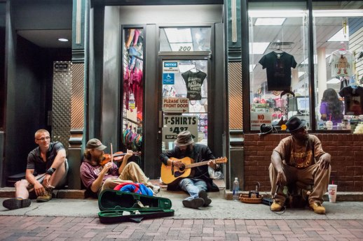 """""""Sitting Sidewalk Band"""" © ALL IMAGES COPYRIGHT PROTECTED. ALL RIGHTS RESERVED. – DAVID L. MOREL ~ 2015"""