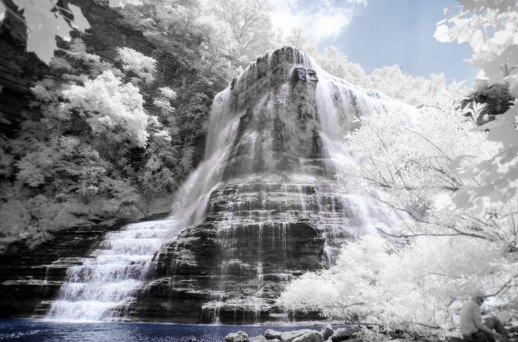 """""""Bottom of Burgess Falls I (IR)"""" © ALL IMAGES COPYRIGHT PROTECTED. ALL RIGHTS RESERVED. – DAVID L. MOREL ~ 2015"""