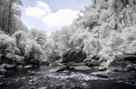 """""""Tail Waters of Burgess Falls (IR)"""" © ALL IMAGES COPYRIGHT PROTECTED. ALL RIGHTS RESERVED. – DAVID L. MOREL ~ 2015"""